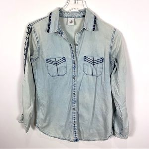Cabi Bardot button embroidered chambray top